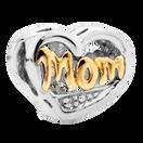 Diamond Set, 10kt Yellow Gold & Sterling Silver Mom Charm