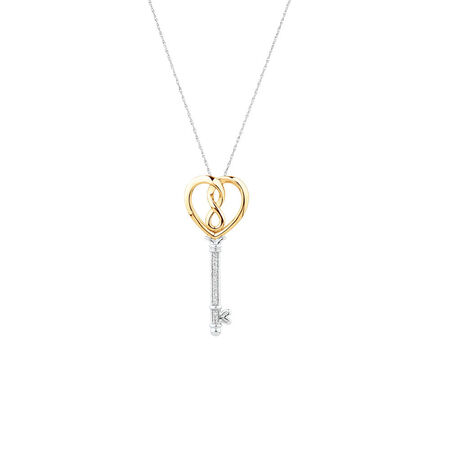Infinitas Key Pendant with 1/15 Carat TW of Diamonds in Sterling Silver and 10kt Yellow Gold