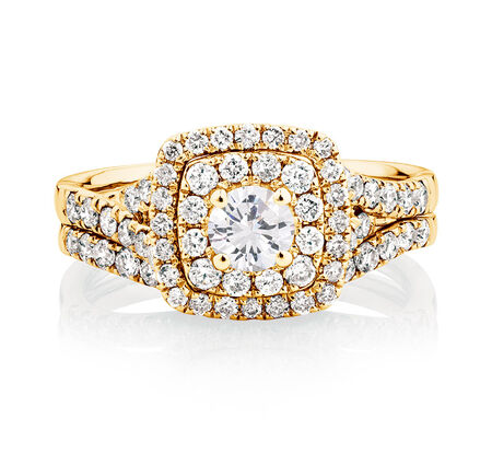 Bridal Set with 1 1/5 Carat TW of Diamonds in 14kt Yellow Gold