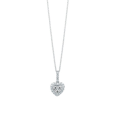 Michael Hill Designer Pendant with 3/8 Carat TW of Diamonds in 14kt White & Rose Gold