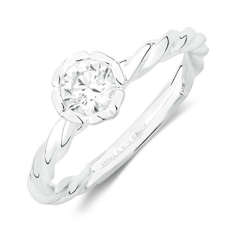 April Stacker Ring with White Cubic Zirconia in Sterling Silver