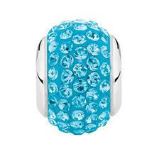 Sterling Silver & Aqua Crystal Charm
