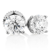 Classic Stud Earrings with 1 1/2 Carat TW of Diamonds in 14kt White Gold