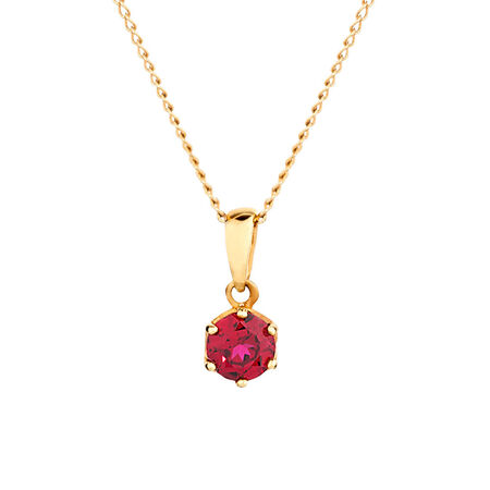 Pendant with Created Ruby 10kt Yellow Gold
