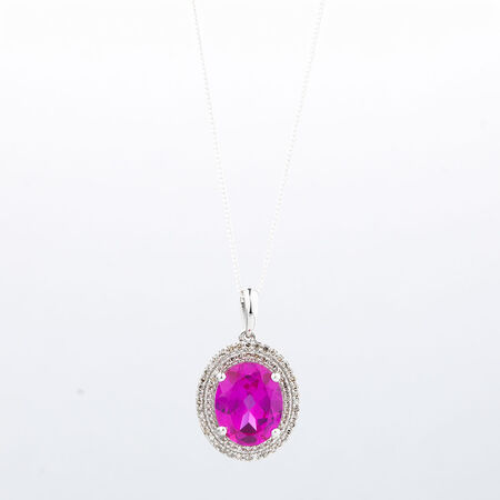 Online Exclusive - Pendant with 1/4 Carat Total Weight of Diamonds & Created Pink Sapphire in 10kt White Gold