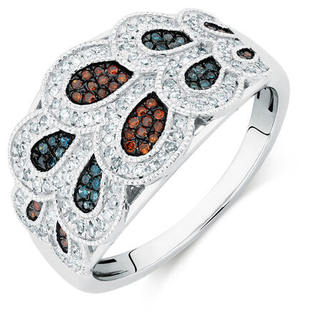 Online Exclusive - City Lights Ring with 3/8 Carat TW of Enhanced Blue & Enhanced Brown Diamonds in Sterling Silver