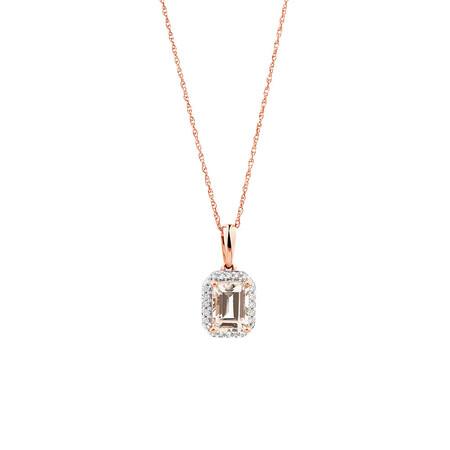 Pendant with 1/10 Carat TW of Diamonds & Morganite in 10kt Rose Gold