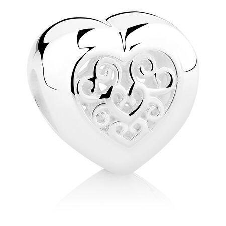 Filigree Heart Charm in Sterling Silver