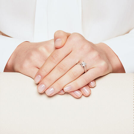 Certified Solitaire Engagement Ring with a 1 1/4 Carat Diamond in 14kt White Gold