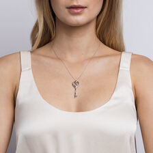 Infinitas Key Pendant with Diamonds in Sterling Silver
