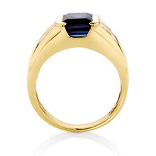 Men's Ring with Created Sapphire & Diamonds in 10kt Yellow Gold
