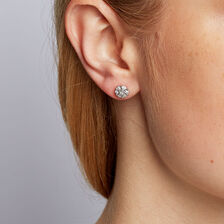 Cluster Stud Earrings with 1/5 Carat TW of Diamonds in Sterling Silver