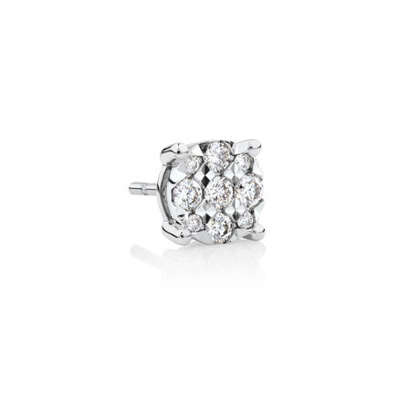 Men's Stud Earring with 1/8 Carat TW of Diamonds in 10kt White Gold
