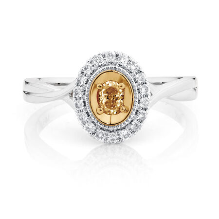 Engagement Ring with 1/3 Carat TW of White & Yellow Diamonds in 14kt White & Yellow Gold