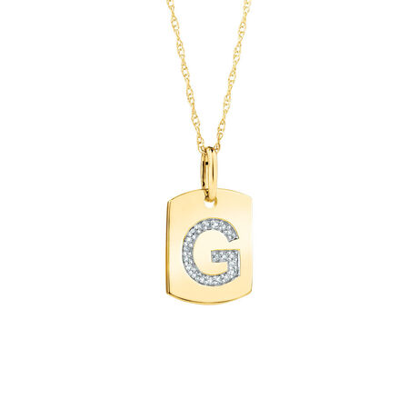 """G"""" Initial Rectangular Pendant With Diamonds In 10kt Yellow Gold"""