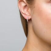 Hoop Earrings with Diamonds in Sterling Silver