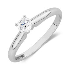 Solitaire Engagement Ring with a 1/3 Carat Diamond in 14kt White Gold