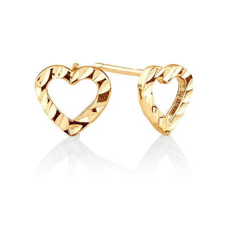 Heart Stud Earrings in 10kt Yellow Gold