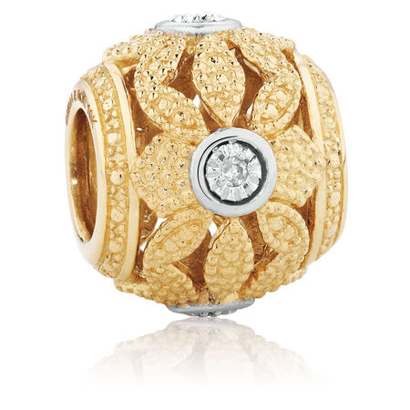 Diamond Set Art Deco Charm in 10kt Yellow Gold
