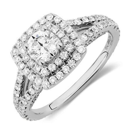 Sir Michael Hill Designer GrandArpeggio Engagement Ring with 1 1/2 Carat TW of Diamonds in 14kt White Gold
