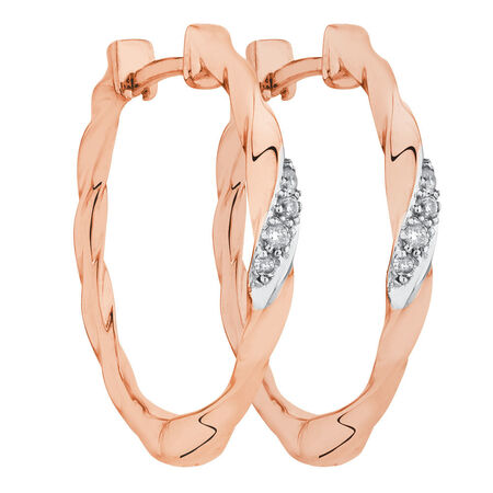 Hoop Earrings with Diamonds in 10kt Rose Gold
