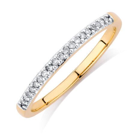 Diamond Set 10kt Yellow Gold Stack Ring