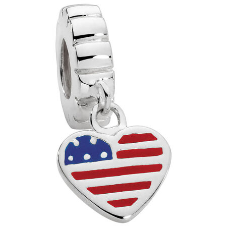 Sterling Silver USA Flag Heart Charm