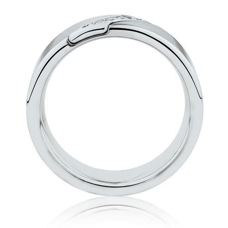 Men's Ring with Diamonds in White Tungsten