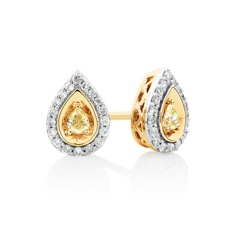 Pear Stud Earrings with 1/3 Carat TW of Natural Yellow & White Diamonds in 10kt Yellow Gold