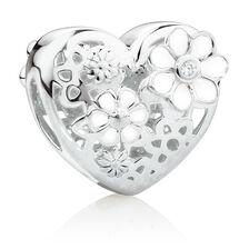 Daisy Heart Charm with Cubic Zirconia Enamel in Sterling Silver