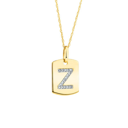 """Z"" Initial Rectangular Pendant With Diamonds In 10ct Yellow Gold"