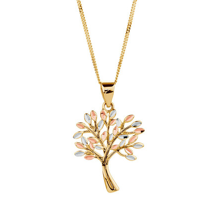 Tree of Life Pendant in 10kt Yellow, White & Rose Gold
