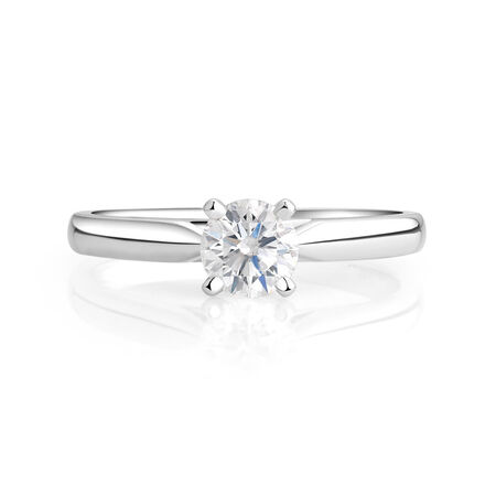 Evermore Solitaire Engagement Ring with a 1/2 Carat Diamond in 14kt White Gold