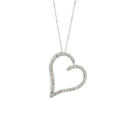 Online Exclusive - Heart Pendant with 1/2 Carat TW of Diamonds in 10kt White Gold