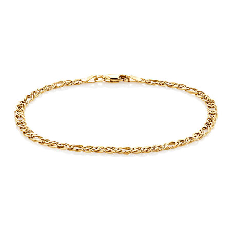 """19cm (7.5"""") Double Oval Curb Bracelet in 10kt Yellow Gold"""