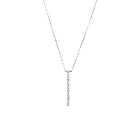 Bar Drop Pendant with Diamonds in 10kt White Gold