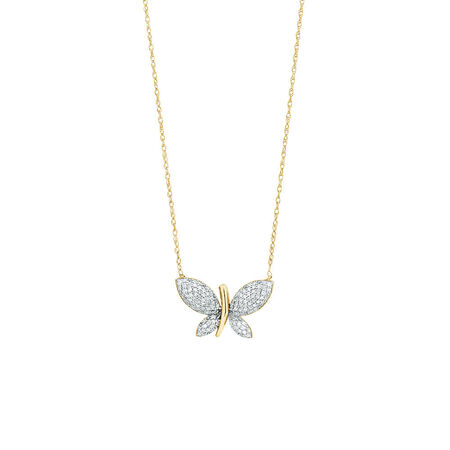 Butterfly pendant with 1/5 Carat TW Diamonds in 10kt Yellow Gold
