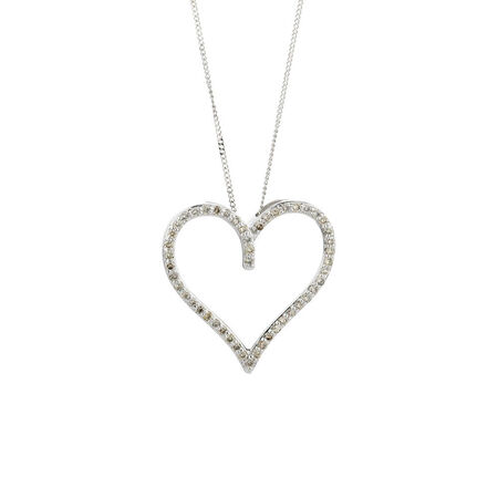 Online Exclusive - Heart Pendant with 1/4 Carat TW of Diamonds in 10kt White Gold