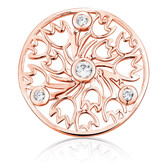 Cubic Zirconia & 10kt Rose Gold Tulip Pattern Coin Locket Insert