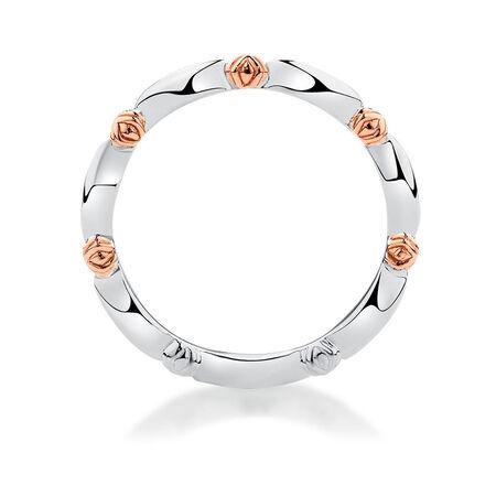 Sterling Silver & 10kt Rose Gold Scalloped Stacker Ring
