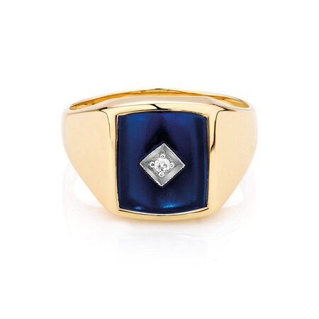 Men's Ring with Cubic Zirconia & Blue Spinel in 10kt Yellow Gold