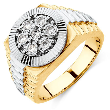 Men's Ring with 1/4 Carat TW of Diamonds in 10kt Yellow & White Gold