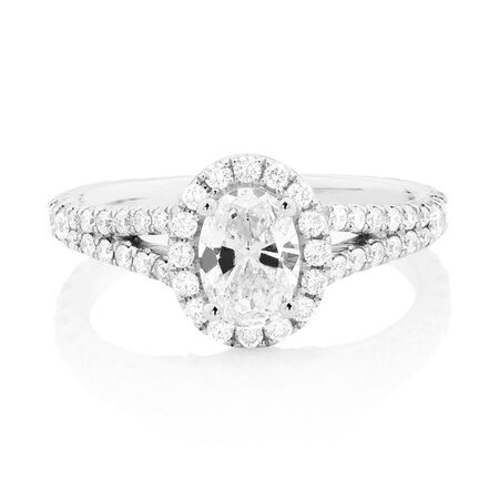 Sir Michael Hill Designer GrandAllegro Engagement Ring with 1 1/2 Carat TW of Diamonds in 14kt White Gold