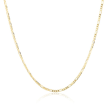 "70cm (28"") Hollow Figaro Chain in 10kt Yellow Gold"