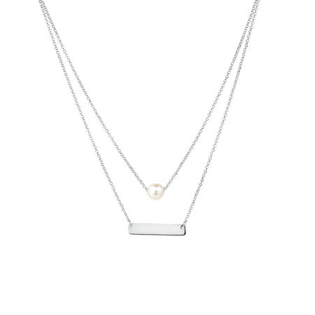 Bar Necklace with Cultured Freshwater Pearl in Sterling Silver