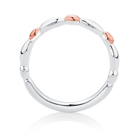 Sterling Silver & 10kt Rose Gold Scalloped Stacker Ring