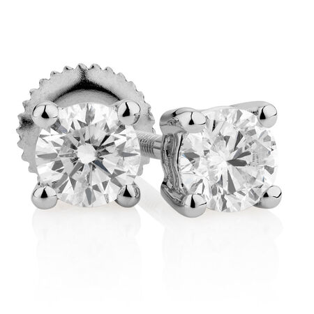 Certified Stud Earrings with 1/2 Carat TW of Diamonds in 14kt White Gold