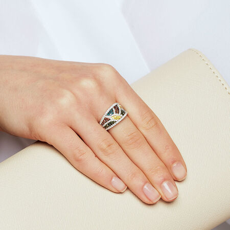 Online Exclusive - Ring with 1.23 Carat TW of Enhanced Multi-Coloured Diamonds in 10kt White Gold