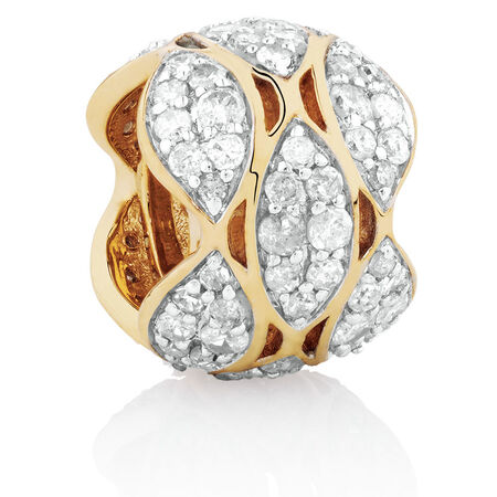 Marquee Charm with 1/2 Carat TW of Diamonds in 10kt Yellow Gold