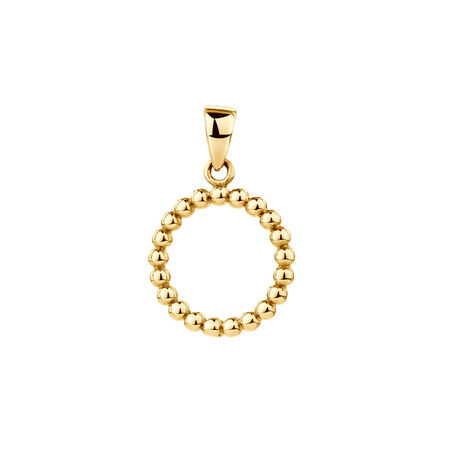 Bubble Circle Pendant in 10kt Yellow Gold